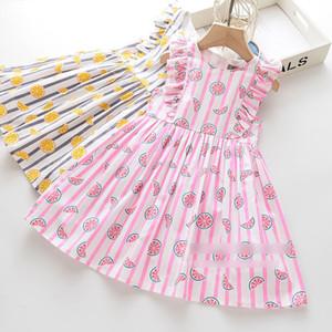 2020 nuevos niños niñas vestido de la raya de limón imprimen los niños vestido plisado falbala volar princesa de manga primavera vestido de ropa de las muchachas J2692