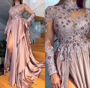 2020 New Arabisch Aso Ebi Perlen Applikationen mit langen Ärmeln Promkleider Sexy High Neck Altrosa Split Rüschen formalen Abend-Kleid-Partei-Kleid