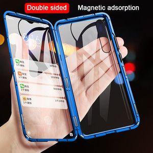 Double face Boîtier métallique magnétique pour Xiaomi Mi 9 SE CC9 A2 A3 Lite POCO F1 9T couvercle en verre pour redmi K20 Note 8 7 10 Pro 8A Case
