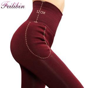Feilibin Kadınlar Kalın Kış Pantolon Bel Zayıflama Kalınlaşmak Yüksek Elastik Kadın Sıcak Kadife Tozluklar Y200623