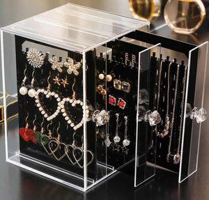 Akrilik Küpe Display toz geçirmez Saklama Kutusu Çekmeceler Tutucu Raf Raf Takı Standı Depolama Kılıf (Takı dahil değildir)