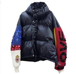 Европейская зима Новые Алмазные Блестки Письма Вязаные рукава прошитой Теплый вниз хлопка куртка Женщины Толстый Parka пальто и пиджаки