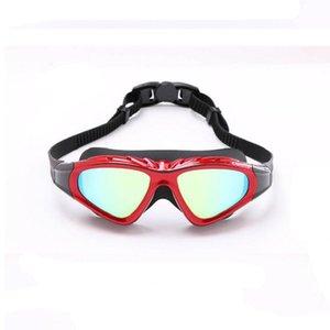 Yüksek Kaliteli Silika Jel Büyük Çerçeve Renkli Kaplama Anti-sis Swim Gözlükler Cam Çizilmeye dayanıklı Objektif Ayarlanabilir Gözlük İçin Spor