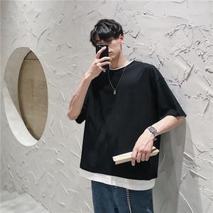 Yaz Mock İki Parçalı Kısa Kollu Tişört Erkekler Gevşek-Fit Mürettebat Boyun Katı Renk Yarım Kol Trend Hong Kong Stil tişört
