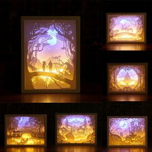 ورقة 3D نحت فن الضوء مصباح LED Deorative هدايا للنوم السرير أضواء الإبداعية