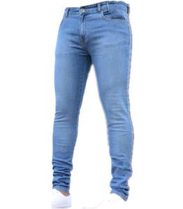 Denim Blue Jeans Mens couleur unie Business Jeans décolorés Jeans Biker Pants Casual Stretch Pencil Pantalons Pantalons