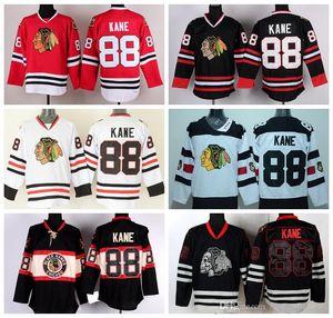 2017 Chicago Blackhawks Hockey maglie 88 Patrick Kane Jersey Stadio Winter Series Classic Black Ice Teschio Rosso Bianco Verde