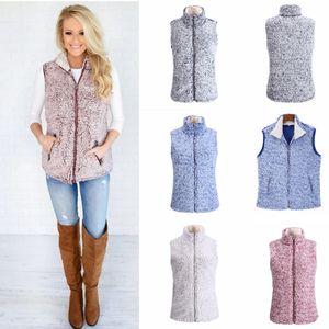 Les femmes Sherpa gilet filles manteau d'hiver chaud gilet Outwear Fleece Manteau réservoir Zip Jacket Gilets LJJA3560-13