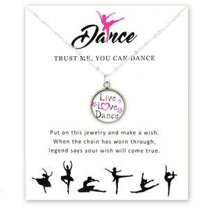 Moda Kız Dans kolye Bale Dansçı Dans Jimnastik Pandantifler Kolye 18mm Cam Cabochon Kadınlar Takı Aşk Canlı Hediye