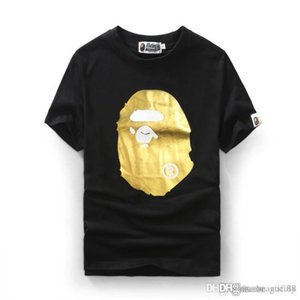 2018 Men's Wear Gold Stamping Cartoon Printing Ape Tshirts Short Sleeved Men Women's T-shirt Justin Bieber Shirts O-neck with Shar