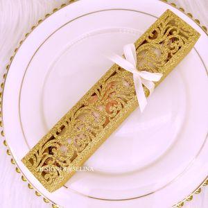 New Gold Glitter Laser Cut mariage Coffrets cadeaux avec des rubans pour soirée de mariage boîte de faveur des titulaires de cartes d'invitation bonbons