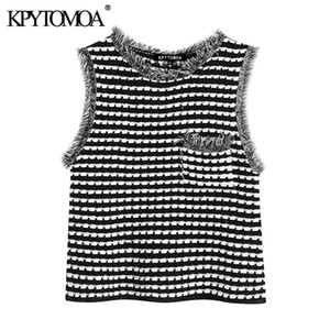 Kpytomoa femmes 2020 Doux Mode poches effiloché tricoté Blouses Vintage O Cou Sans Manches Femme Chemises Blusas Chic Tops