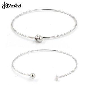 Jaymaxi Alambre Expandible brazalete de acero inoxidable ajustable encanto brazaletes interior Dia 2.36Inch perla puede ser quitada 10piece / lot