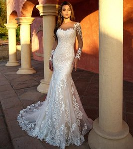 Vintage Applique Lace Mermaid Wedding Dresses Long Sleeves Tulle Beach Garden Bride Gowns Wedding Dress robe de mariee