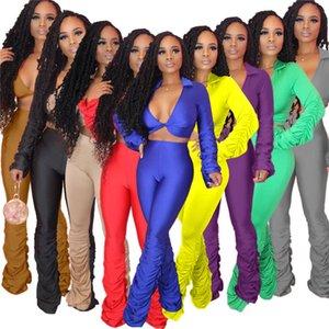 Femmes de Stacked plissés Survêtements été Designer col en V profond Flare FLOD Pantalons Survêtement femelles Tops Ensembles cultures