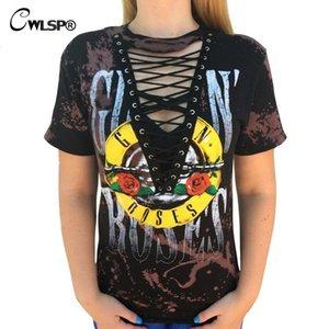 Cwlsp American Rock Music Festival Aushöhlen Gebunden V-Ausschnitt T-Shirts Gun N Roses Print T Shirt Damen Tops Schnüren Kawaii T-Shirt Y19042501