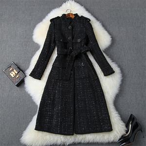 Mode Créateurs Femme Automne hiver en tweed de laine Vestes et manteaux Lady élégant manches longues luxe Perles en laine mélangée Pardessus