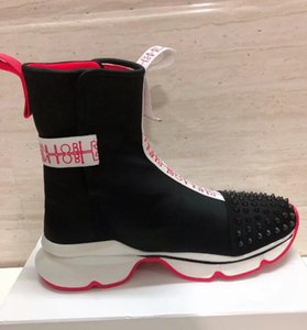 2020 hot New fashion high-top boots Men Women Red Bottom Studded Spikes Fashion Insider Sneakers Black White Leather High Boots size36-46