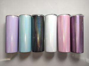 뚜껑 A02으로 승화 20온스 스키니 텀블러 레인보우 스테인리스 물 플라스크 더블 벽 진공 음주 컵 절연 커피 머그잔
