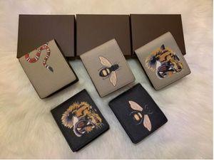 Uomini animali corti portafoglio in pelle nero serpente tigre ape portafogli donna lungo stile lussuoso portafogli porta carte con scatola regalo di alta qualità