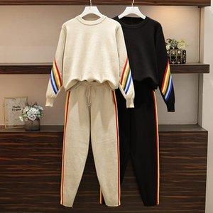 Damen Strickpullover Set Mode Bodysuit Combinaison Femme survêtement femme Zweiteiler Frauen Kleidung 2 Farben L-3XL
