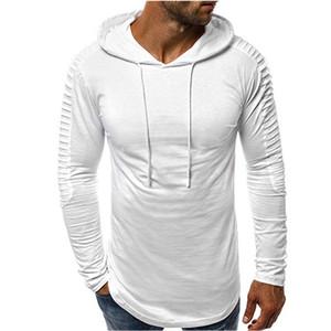 الرجال مصمم مقنع تي شيرت أزياء نصب منصة تيز عارضة طويلة الأكمام اللون الطبيعي تيز الرجال الملابس
