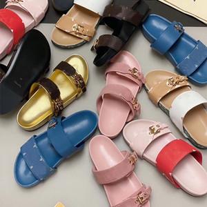 2020 Männer Hausschuhe Luxus Bom Dia Sandalen Frauen Beste Qualität Blume gedruckt Flip Flops Braune Ledergummi-Sohlen Zwei Gürtel Sandalen mit Box