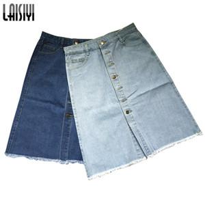 Gonna Laisiyi estate casual coda alta blu jeans donna media lunghezza Jeans Rock Saia Midi stile coreano Assk20157 Y19071501
