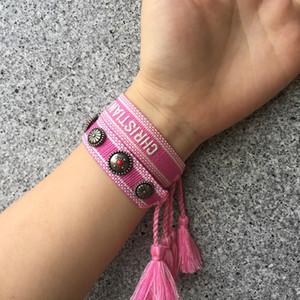 Gesponnenes Armband Set, Luxus-Stil Seil Material Stoff Armband mit Nähen Worten und Quasten, Art und Weise Sommer böhmischem Schmuck für Frauen