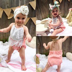 أزياء الوليد طفل رضيع الفتيات خليط الرسن الشرابة الشريط رومبير بذلة الزي الملابس