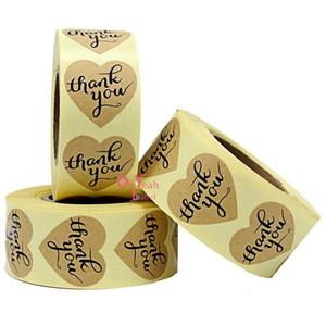 500pcs Herzform Kraftpapier Adhesive Label Sticker Siegel Label Sticker danke Aufkleber für DIY Geschenk Dekoration