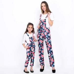 Мама Дочь Наряды Модные Цветочные Подтяжки Брюки Футболка с коротким рукавом Mommy And Me одежда Соответствие Семьи