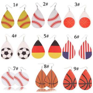 Yeni Spor PU Deri Küpe Beyzbol Amerikan Almanya Ulusal Bayrak Futbol futbol basketbol voleybol Bırak Küpe kadınlar Takı Için