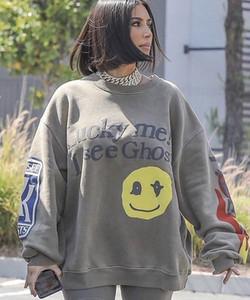 Schiuma 3d Kanye West fortunato me vedo fantasmi Cotone Donne con cappuccio Uomo Casual Moda Inverno Smiley Felpe