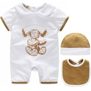 Newborn Baby Boy Rompers Baby Girl Clothes Infant Boys Jumpsuit +Bib+Hat 3 piece Clothing Set 100% Cotton Baby Clothes