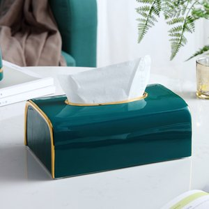 Living Room Home Dining Table Tray Ceramics Green Tissue Box Coffee Table Home Decoration Ashtray High Feet Fruit Cake Plate