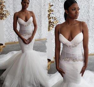 Mermaid Wedding Dresses Black Girls African Spaghetti Straps Sexy 2020 Bridal Gowns Crystals Beaded Court Train Vestidos De Novia AL6463