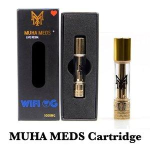 Cartuccia Meds Muha diretta resina Vape Carrelli 0.8ml Oro Serbatoio olio di ceramica di spessore della bobina Svuotare Atomizzatore per 510 Preriscaldare batteria