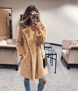 Escudo piel larga JODIMITTY invierno imitación de las mujeres del abrigo de pieles de lujo flojo de la solapa de la chaqueta de Abrigo caliente grueso femenino de la talla de felpa