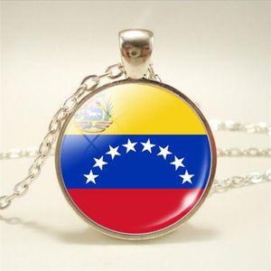 2019 nova venezuela bandeira nacional tempo do mundo jóia de vidro cabochão choker colar de pingente de cadeia longa ligação mulheres homens charme pingentes jóias presente