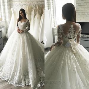 2020 dentelle de luxe applique manches longues robes de mariée princesse train train train élégant Dubaï arabe musulman a-ligne robes de mariée pas cher