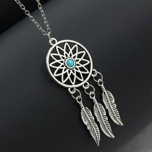 Fashion Retro Bohemian Dream Catcher Pendant Chain Necklace Ladies Tassel Feather Pendant Necklace Jewelry Choker Faddish Necklace