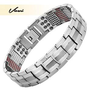 Vivari Männergesundheit Magnetisches Armband Für Männer Silber Überzogene Reine Titan Armreif Magnetic Ion Germanium Far Infar Red Armbänder