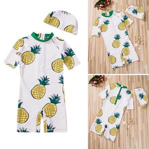 Bébés filles Maillots de bain Maillot de bain Pineapple bain Beachwear Jumpsuit maillot de bain + Hat
