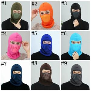Bisiklet Bisiklet Kış Sıcak Boyun Yüz Maskesi Unisex Açık maske Spor Termal Fanila Şapka Kayak Hood Kask 9 Renk ZZA551 Caps