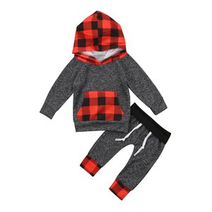 Christmas baby Kid clothes Toddler Kids boys Girls clothing Plaid Hooded Tops Pants 2Pcs Outfits Set Xmas Clothes costume