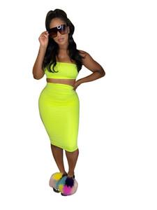 Для женщин Natural Color Two Piece платье Sexy Разрез шеи без бретелек Crop Top колен платье женщин одежда 2 Piece Set