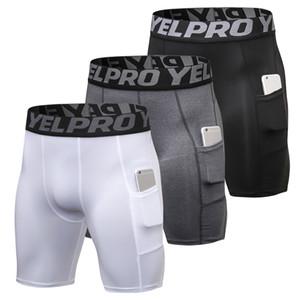 2019 Nova 3pcs homens correndo Tennis Training Shorts Quick Dry Sports Curto Ginásio de Futebol de Praia Verão Shorts Roupa Interior com bolso