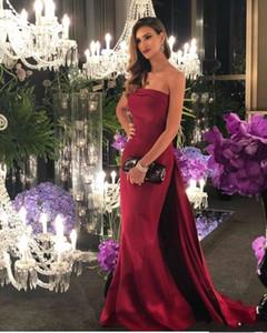 2020 barrido elegante largo de la sirena vestidos de desgaste de la tarde formal vestidos sin tirantes de la cremallera Volver Prom Vestidos baratos dama de honor vestido de la novia