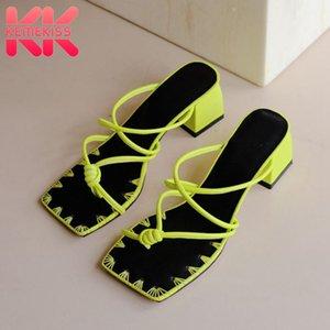 Tacones KemeKiss fantasía Mujeres Sandalias Nuevo diseño cuadrado zapatillas de moda zapatos de cuero genuino mujeres de talla de calzado informal 34-39